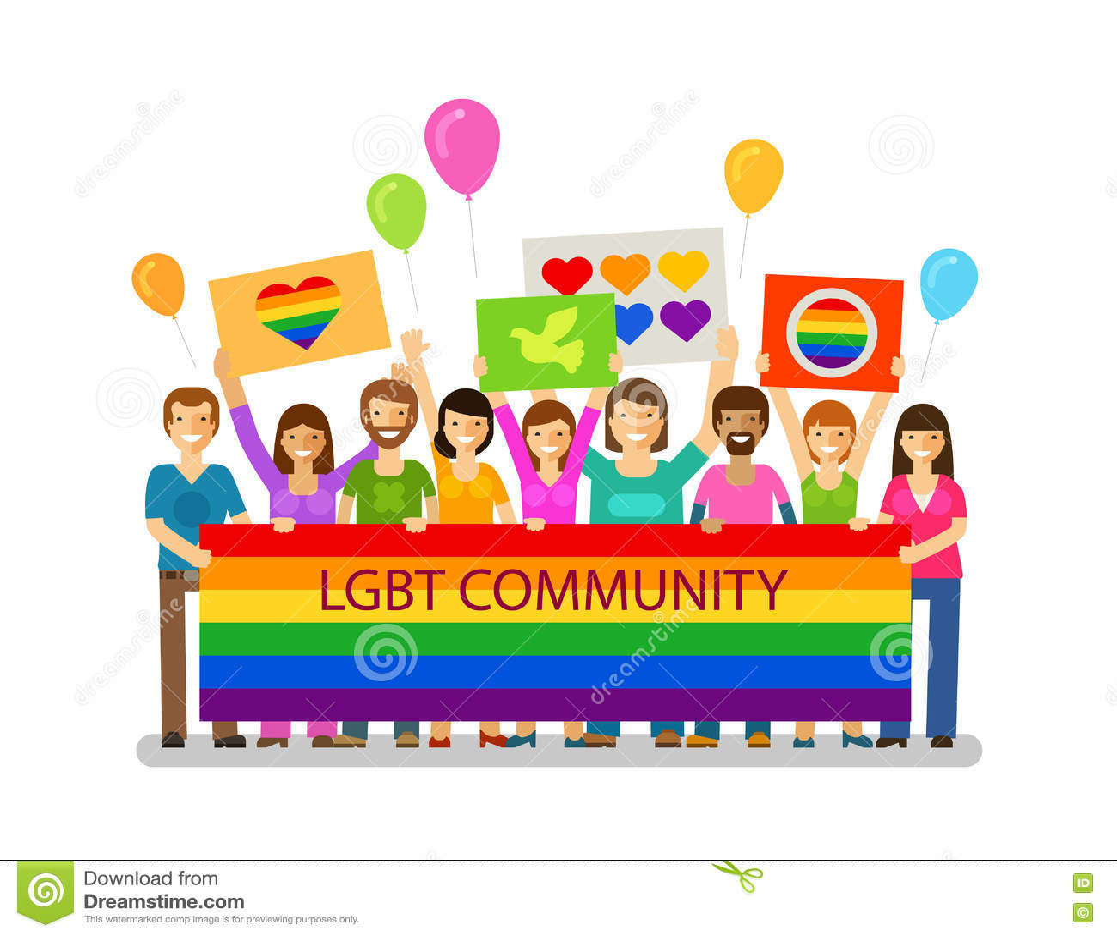 LGBT społeczność Homoseksualna parada, wakacje, festiwal, świętowanie ikona Szczęśliwi ludzie z plakatami