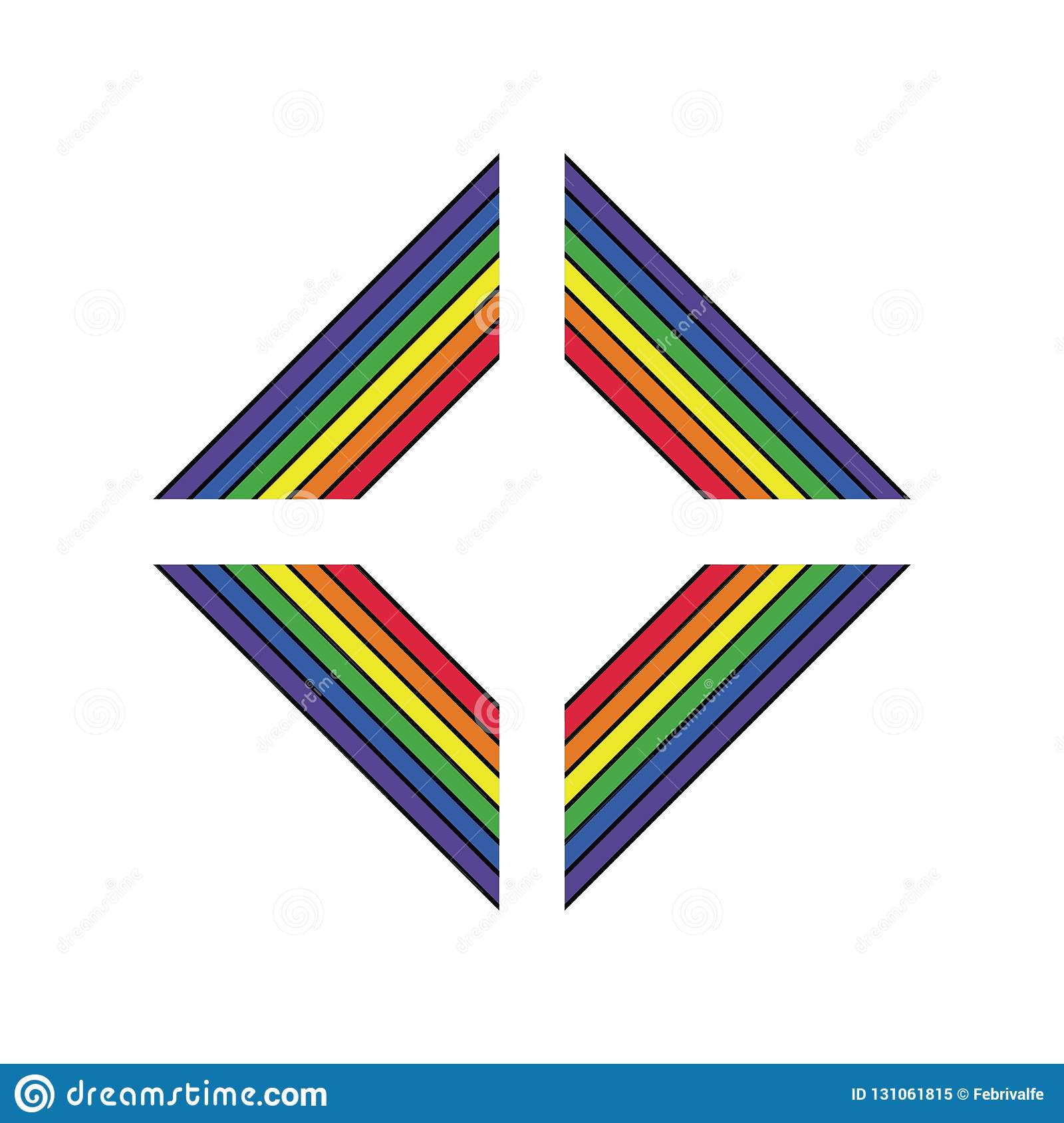 LGBT support symbol in rainbow colors with lettering. Icons, logo template.Modern flat vector illustration stylish design element