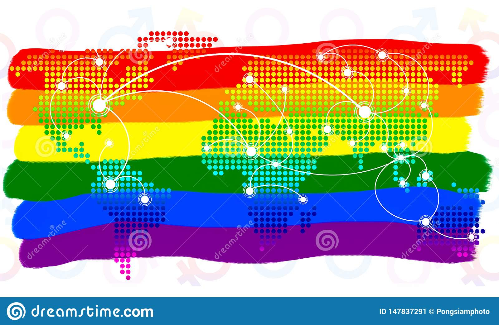 LGBT symbol. The color of rainbow flag and world map virtual button on white background