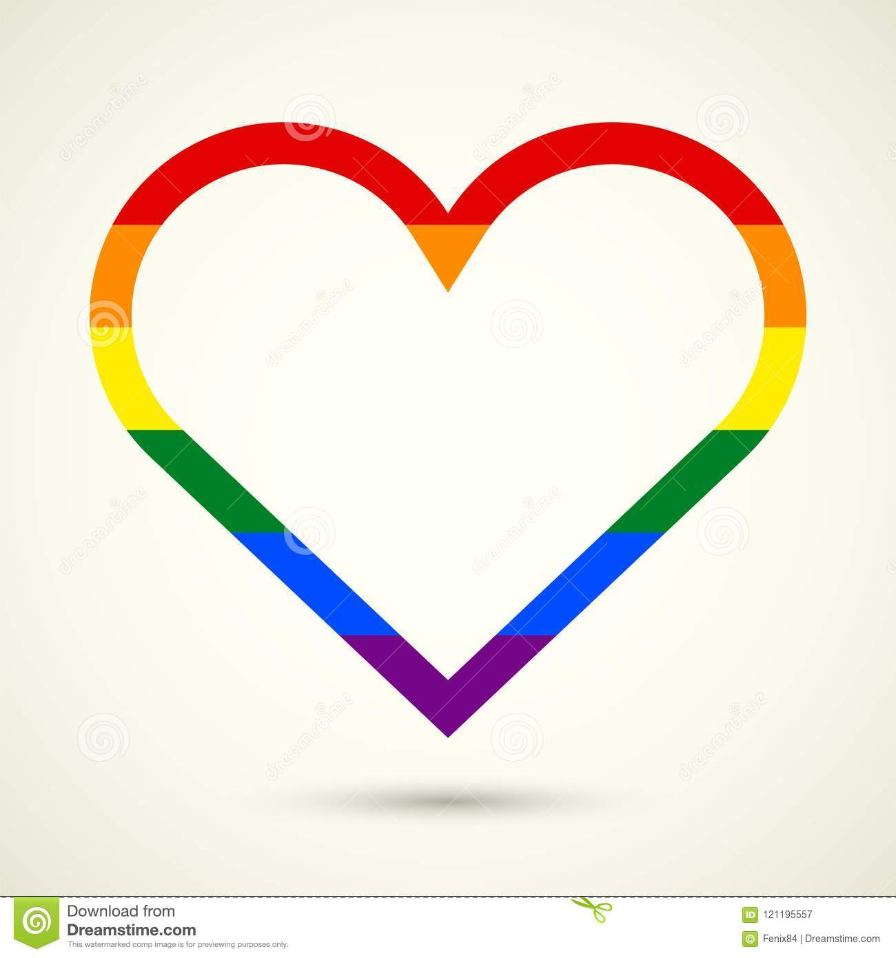 Lgbt Symbol Gay Pride Freedom Heart In Rainbow Colors Stock