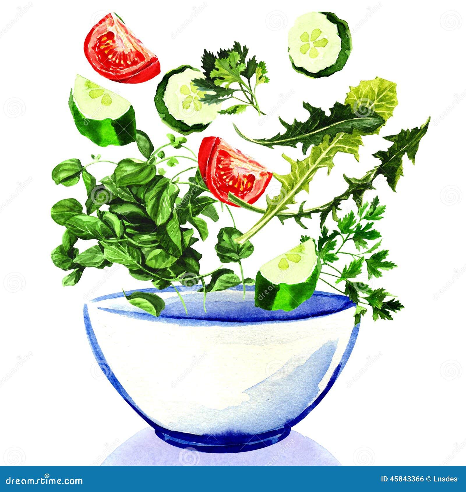 tombant dans un bol de salade, peinture daquarelle sur le fond blanc