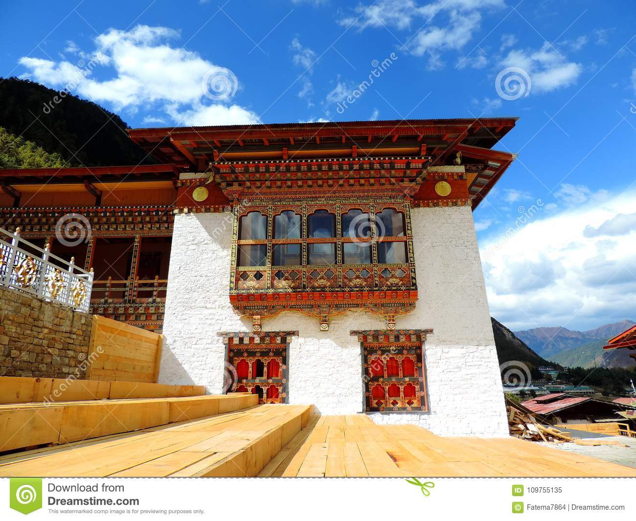 Lhakhang Karpo White Temple In Haa Valley Located In Paro Bhutan
