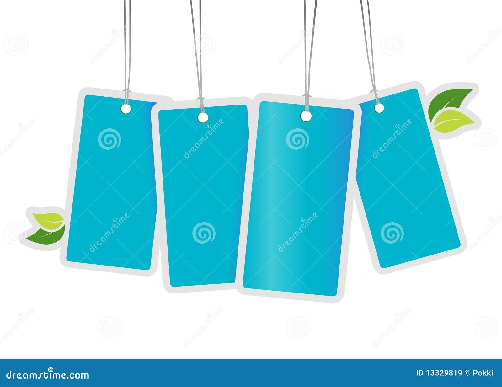 Liść błękitny etykietki