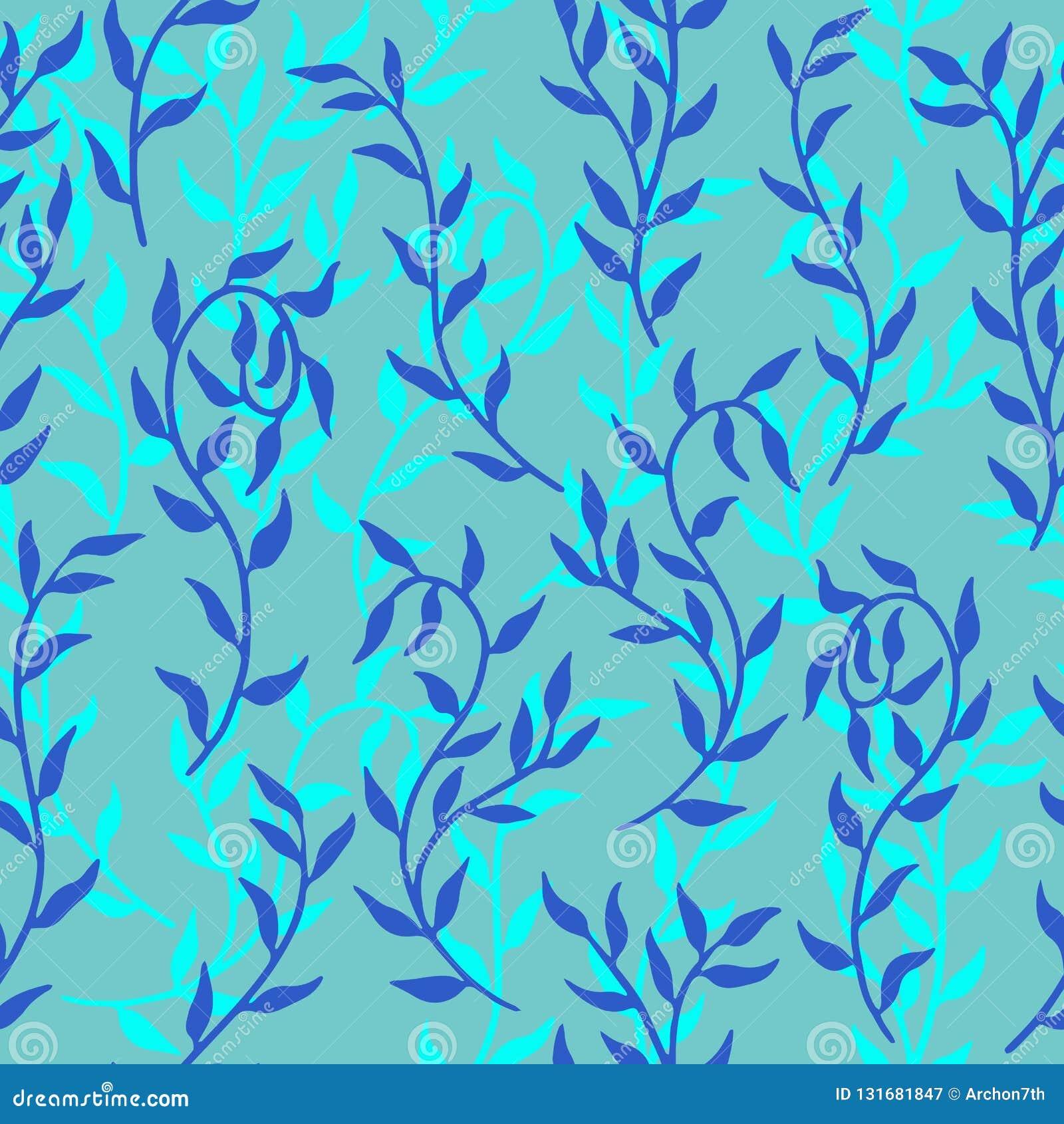 Liane verbreitet der blauen Muster-Hintergrundvektor Blattkriechpflanze des Aqua nahtlosen