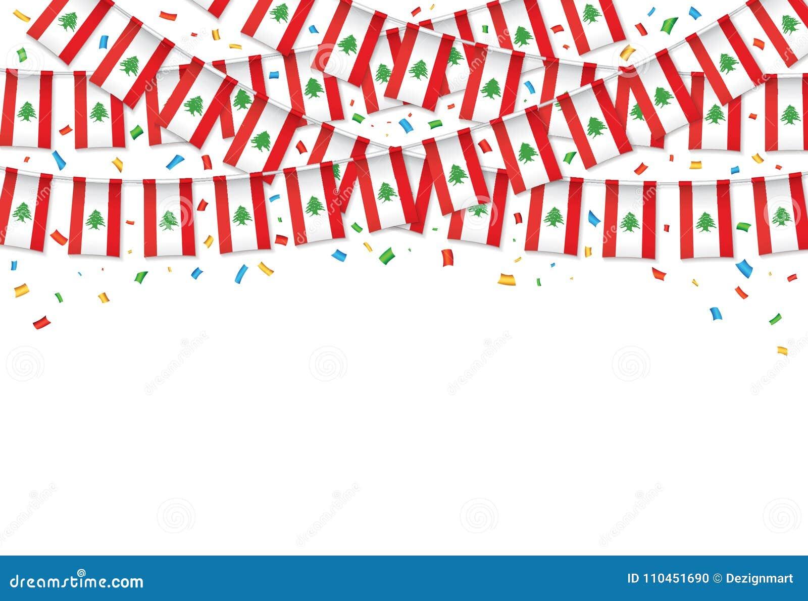 Libanon sjunker vit bakgrund för girlanden med konfettier, hängningbunting för libanesisk självständighetsdagen