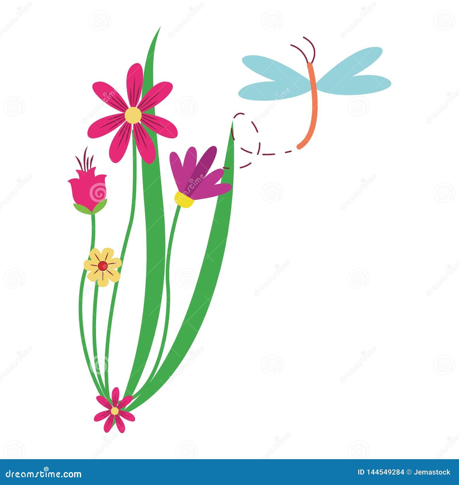 Libellenfliegen um Blumen