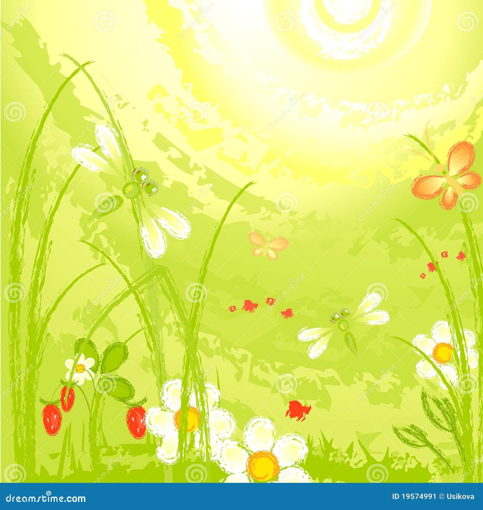 Libellula su un prato verde illustrazione vettoriale for Prato verde