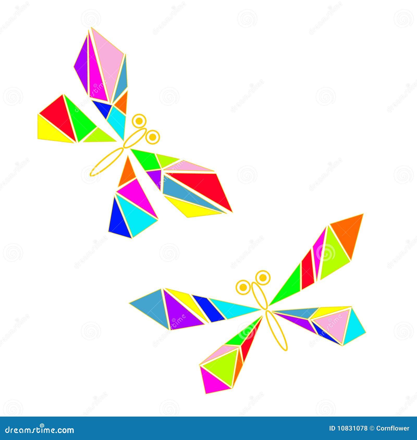 Libellule de verre coloré