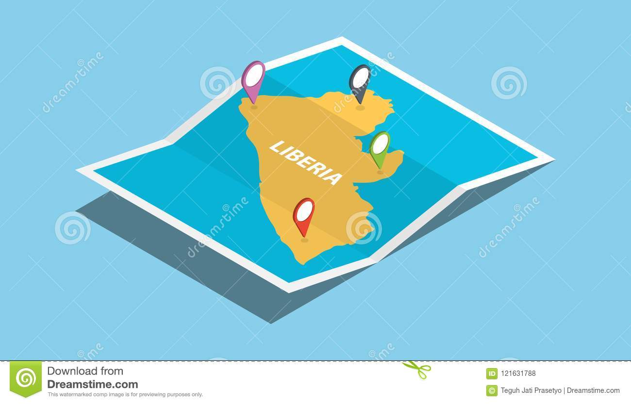 Liberia Africa Explore Maps With Isometric Style And Pin Location ...
