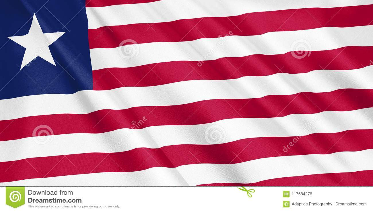 Liberia Flag Waving With The Wind  Stock Illustration