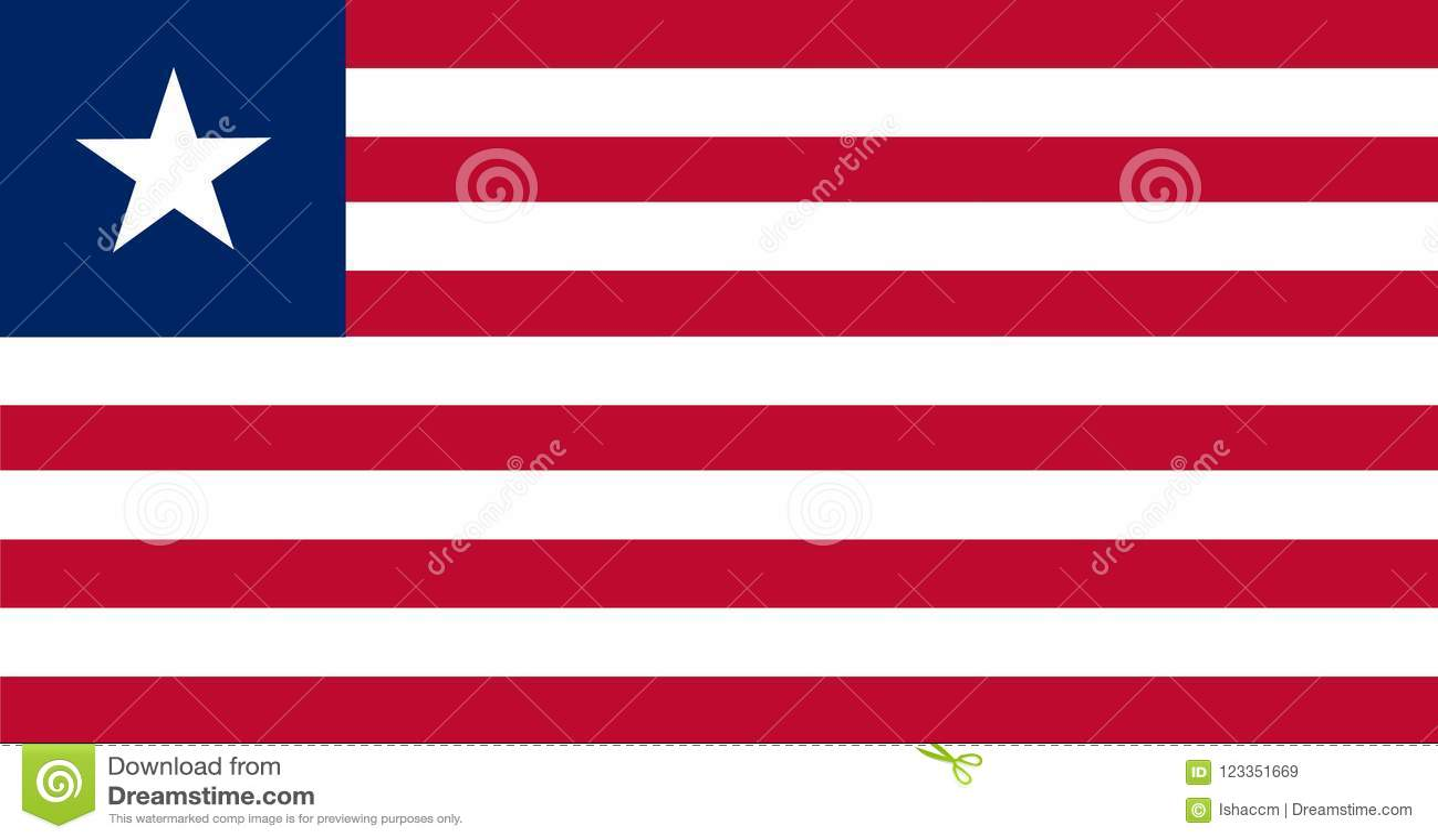 Liberia flaggavektor Illustration av den Liberia flaggan