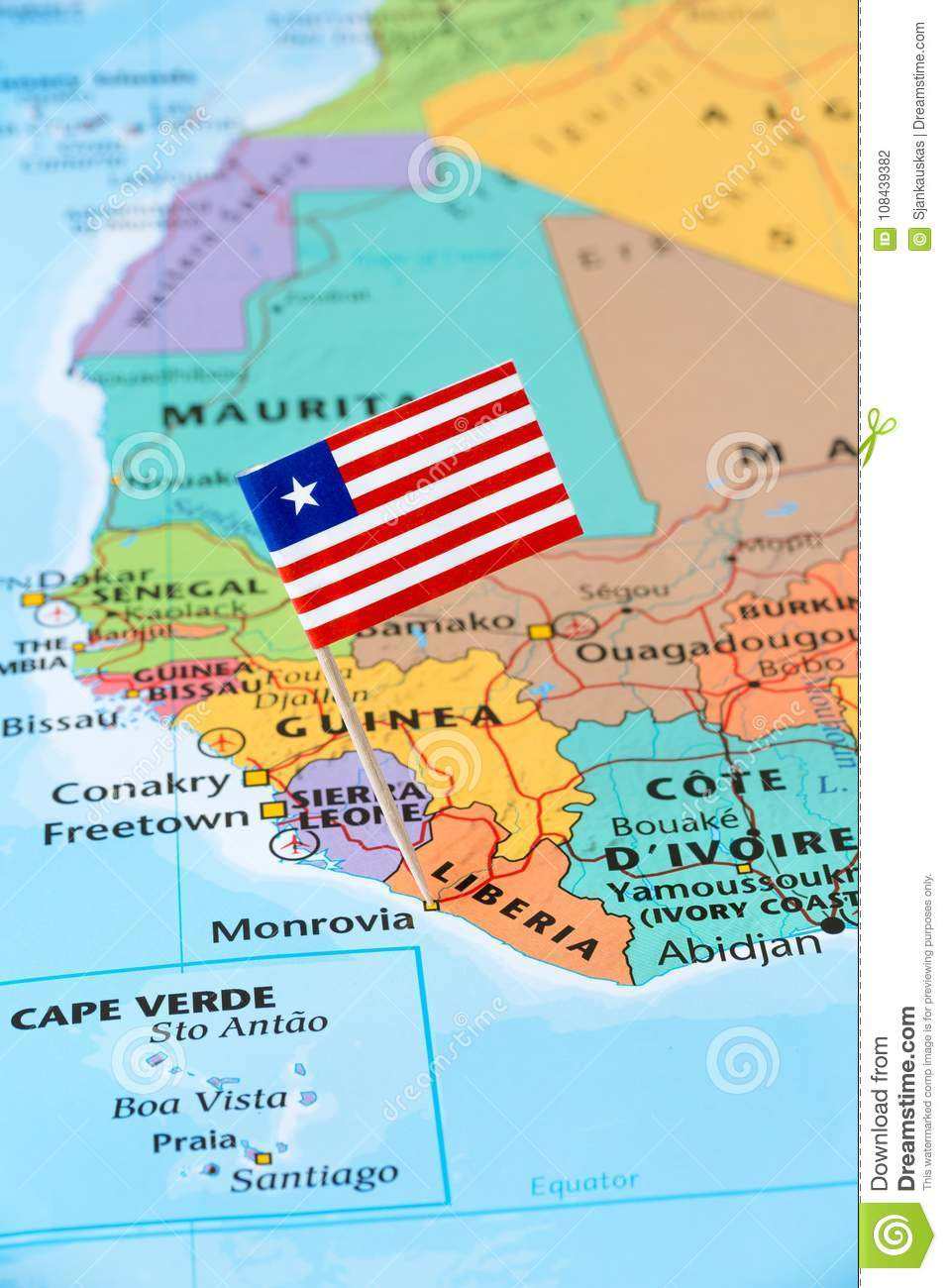 Liberia On Africa Map.Liberia Flag Pin On A World Map Stock Photo Image Of Business