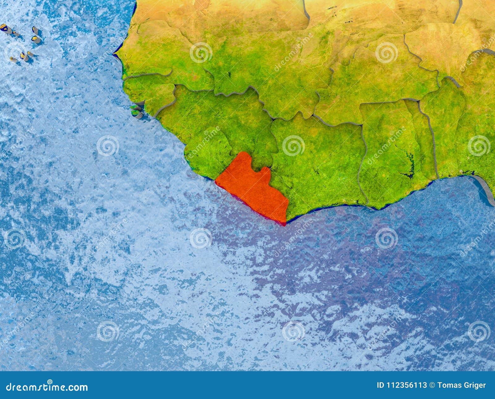 Map of Liberia stock illustration. Illustration of republic ...