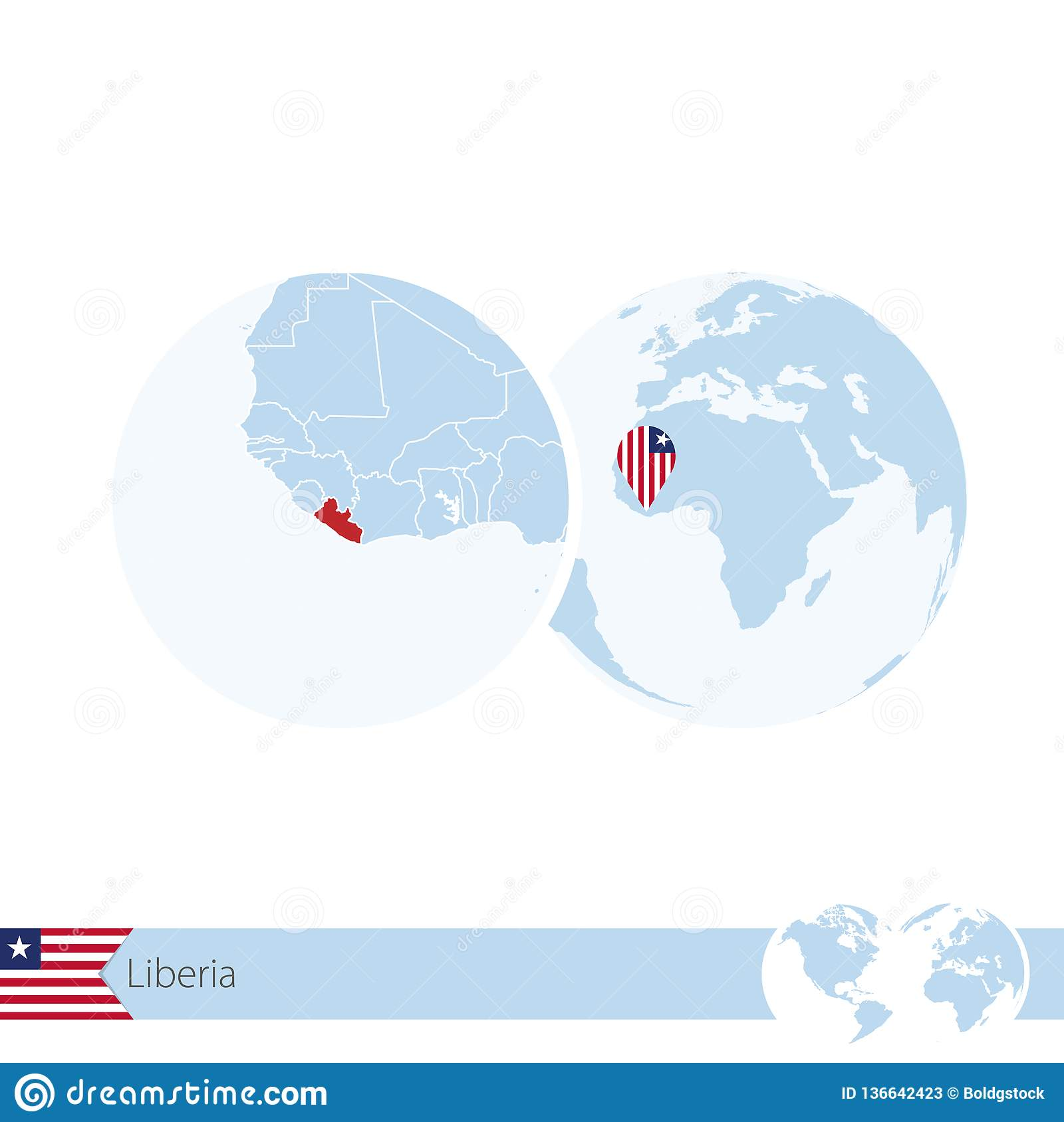 Liberia On World Globe With Flag And Regional Map Of Liberia Stock