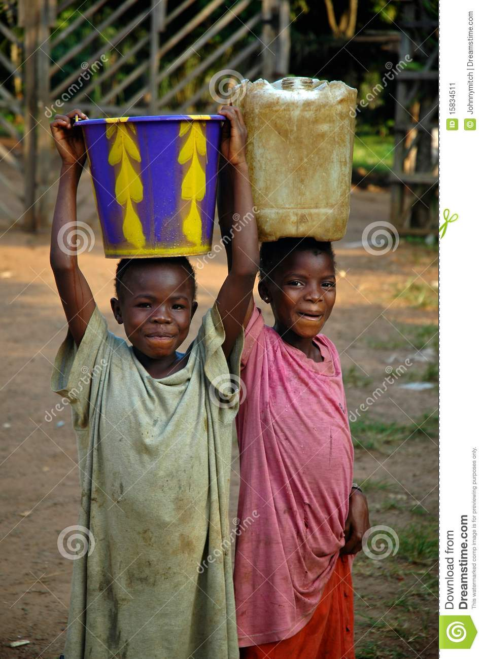 Liberian Children Carrying Water