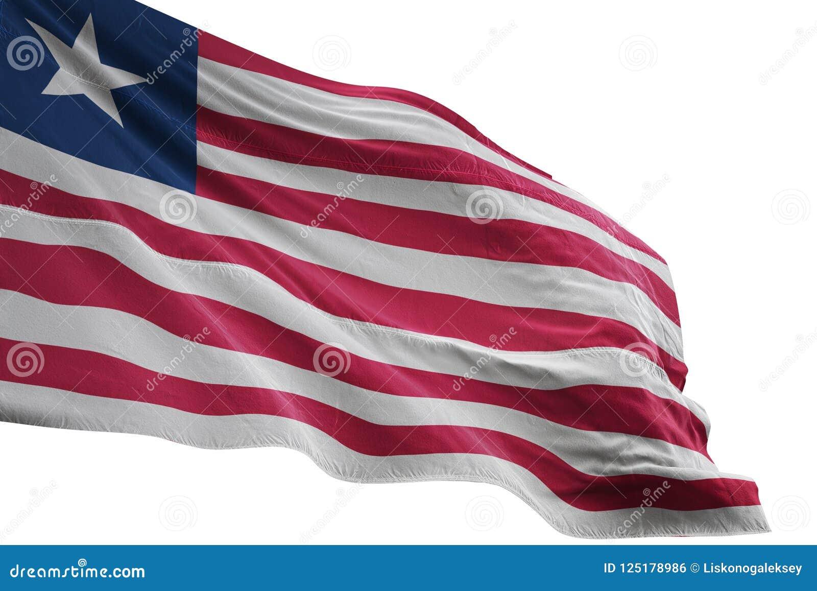 Liberia National Flag Waving Isolated On White Background 3d