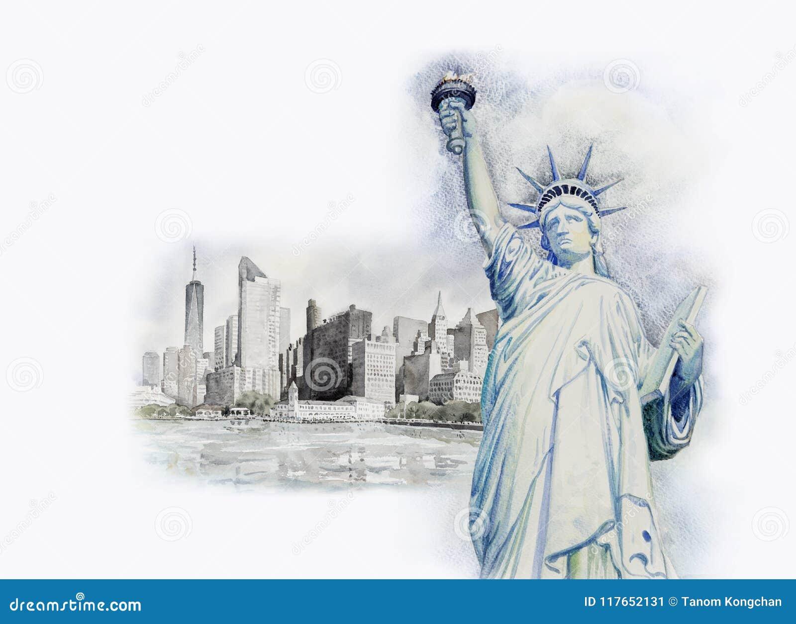 Libertà della statua in Manhattan urbana Pittura dell acquerello