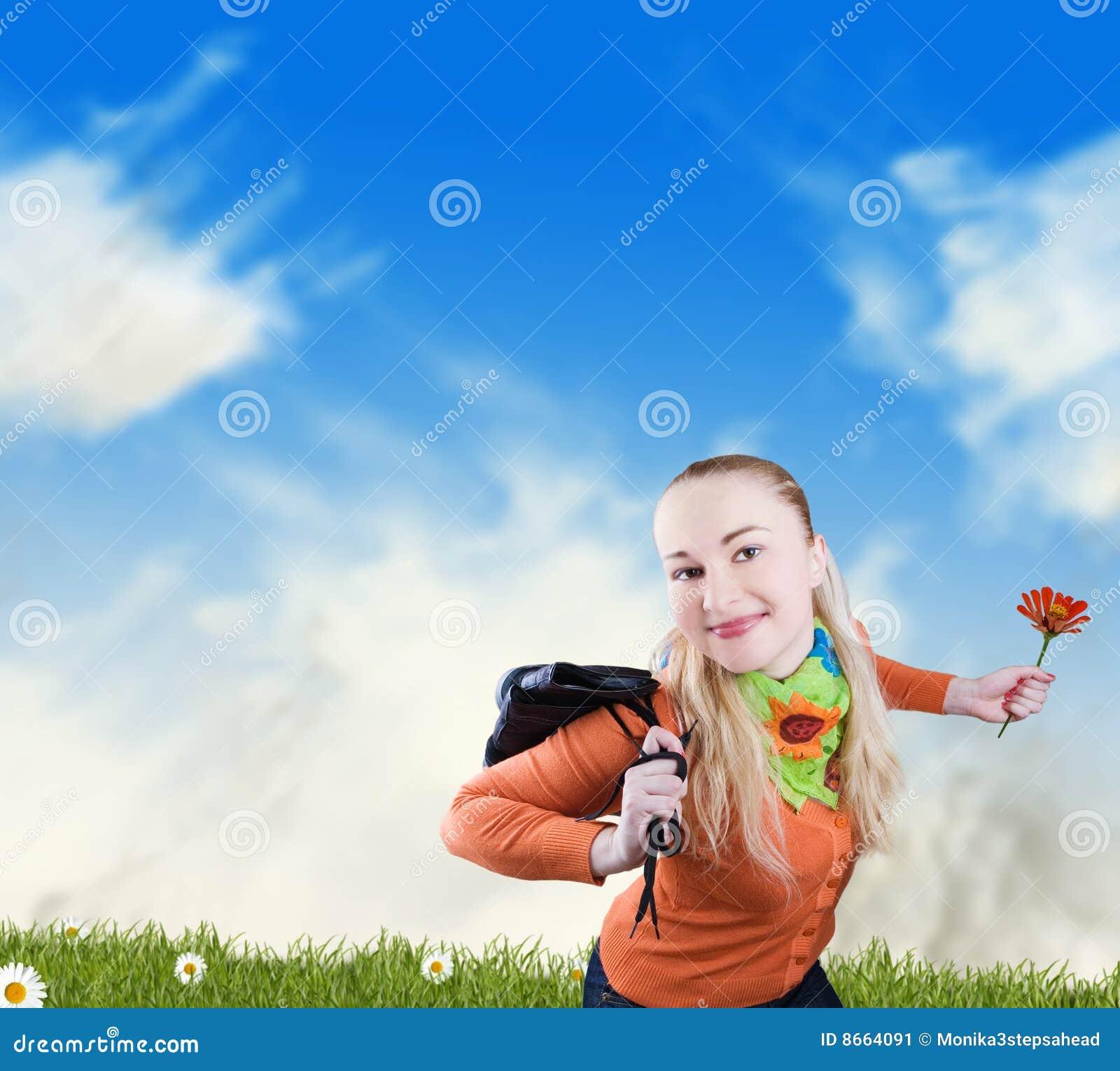 Liberté et bonheur - femme de sourire