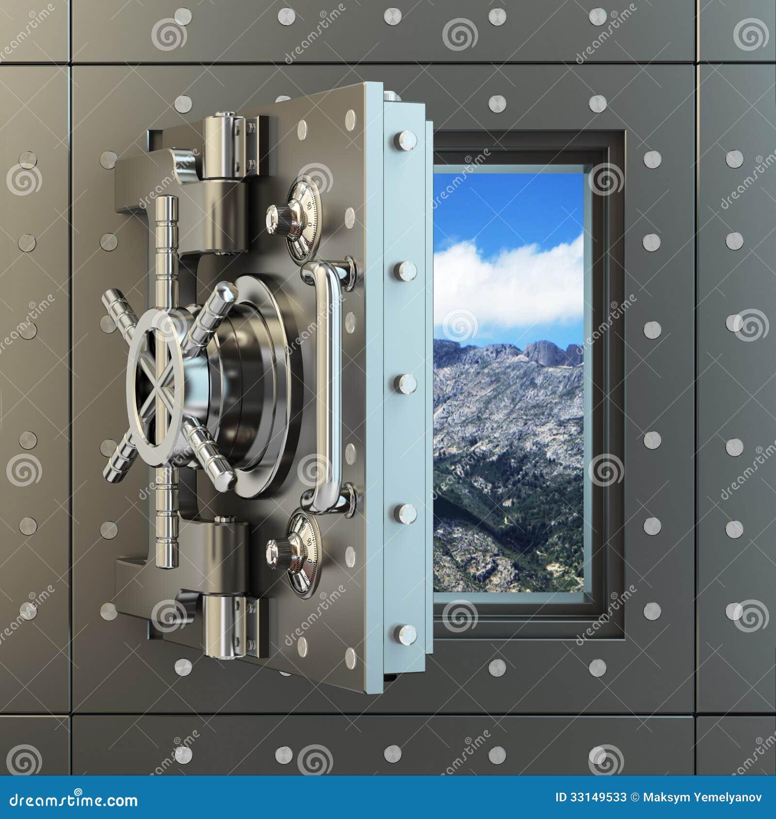 Libert porte et ciel de chambre forte d 39 ouverture derri re lui photos stock image 33149533 for Porte blindee chambre forte