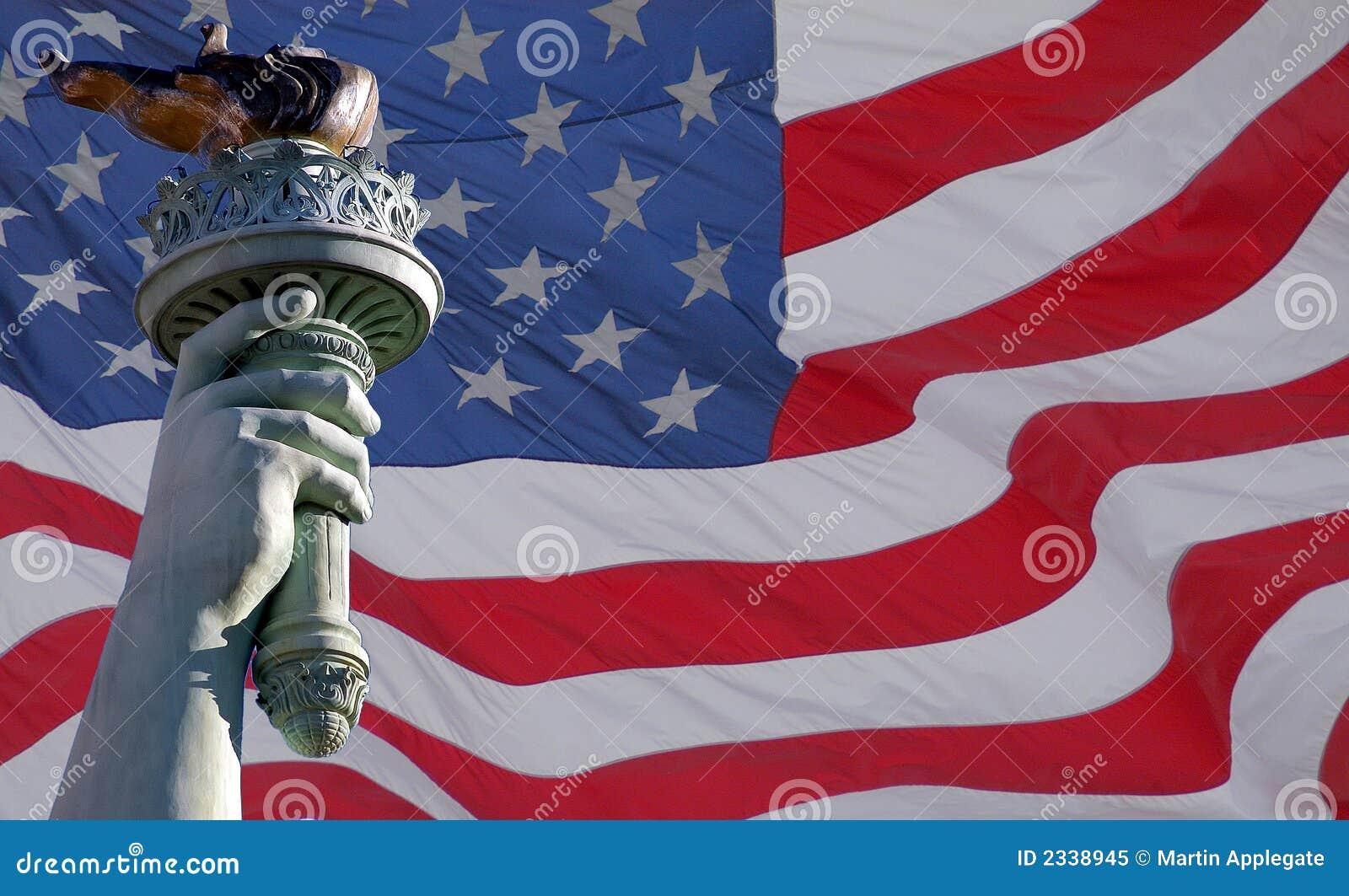Liberty bandery posągów pochodnia