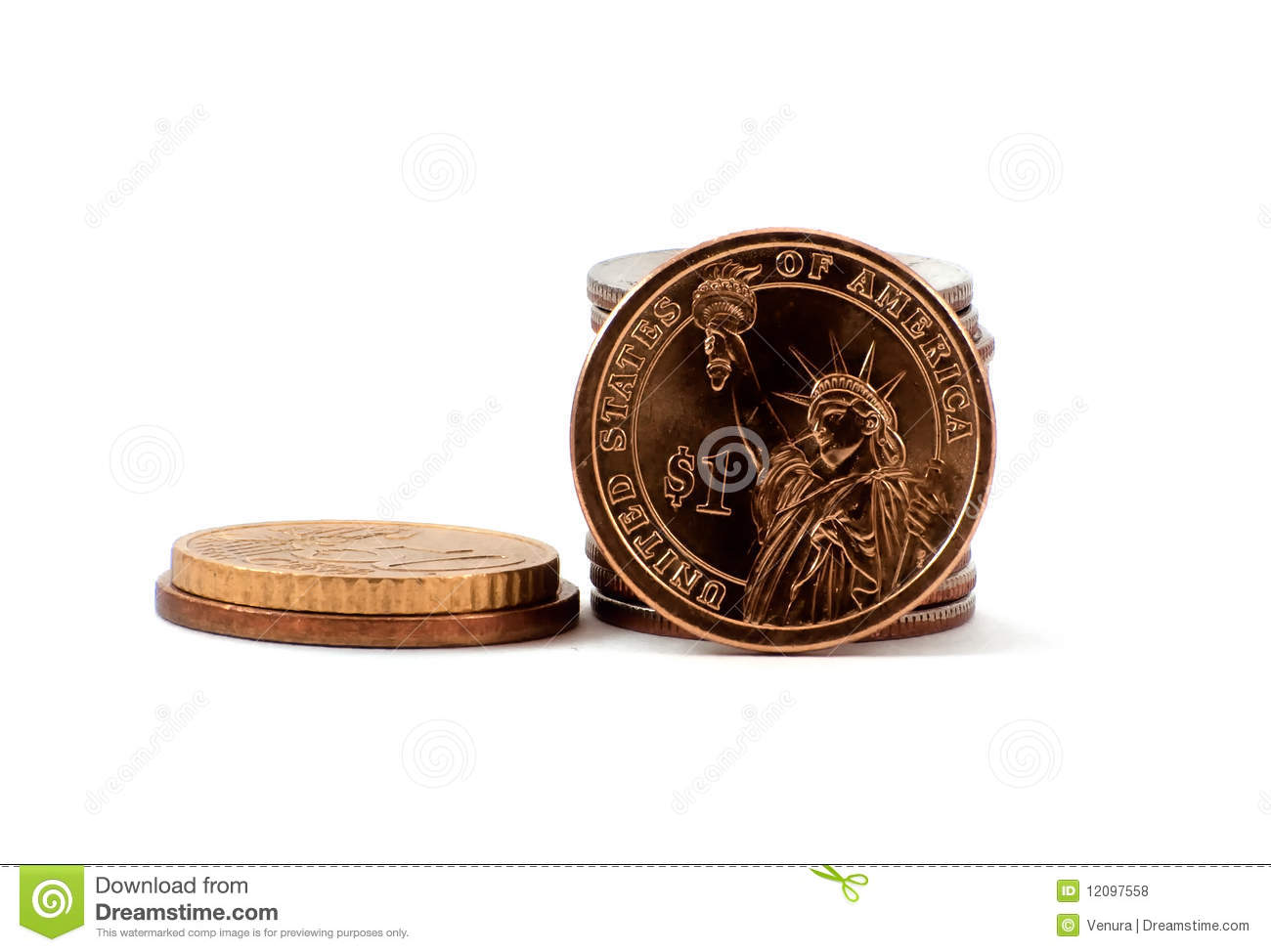 Liberty dollar coin with quarters and nickels