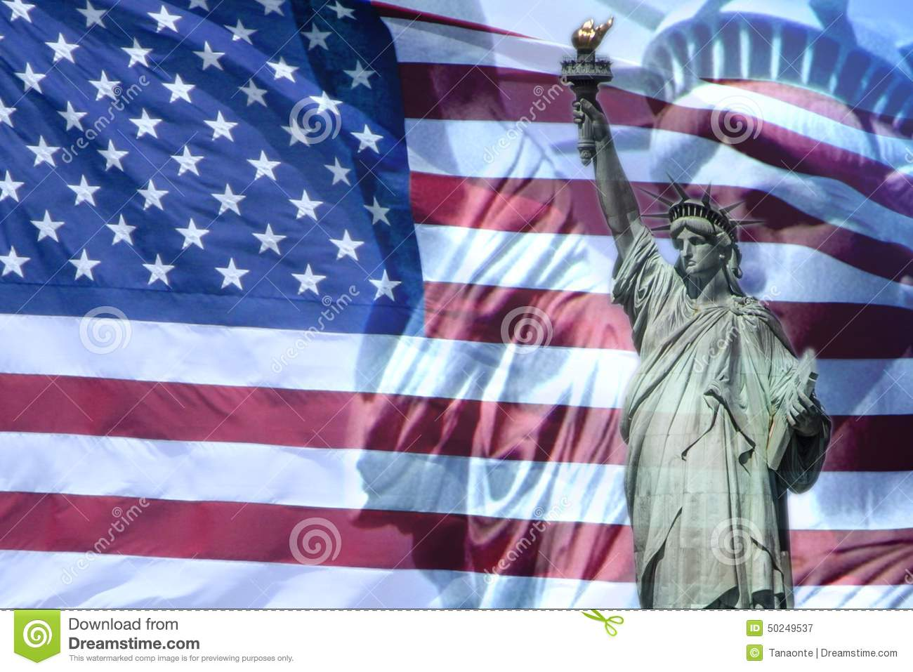 Liberty Statue And American Flag Stock Photo - Image: 50249537