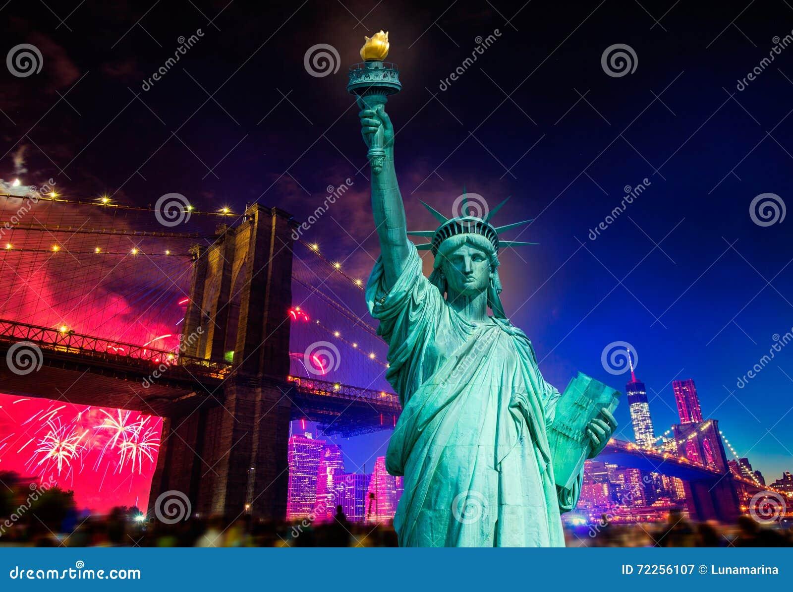 Liberty Statue Brooklyn ponte fogos-de-artifício do 4 de julho