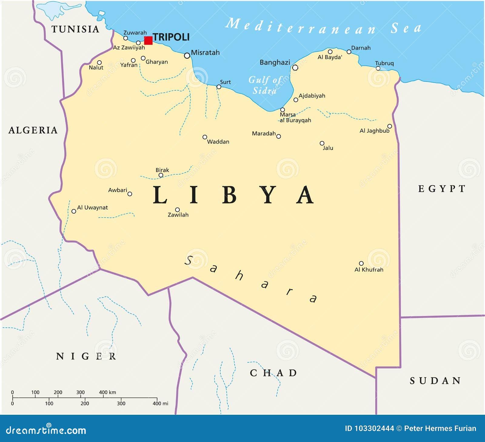 Libia Polityczna Mapa Ilustracja Wektor Ilustracja Zlozonej Z