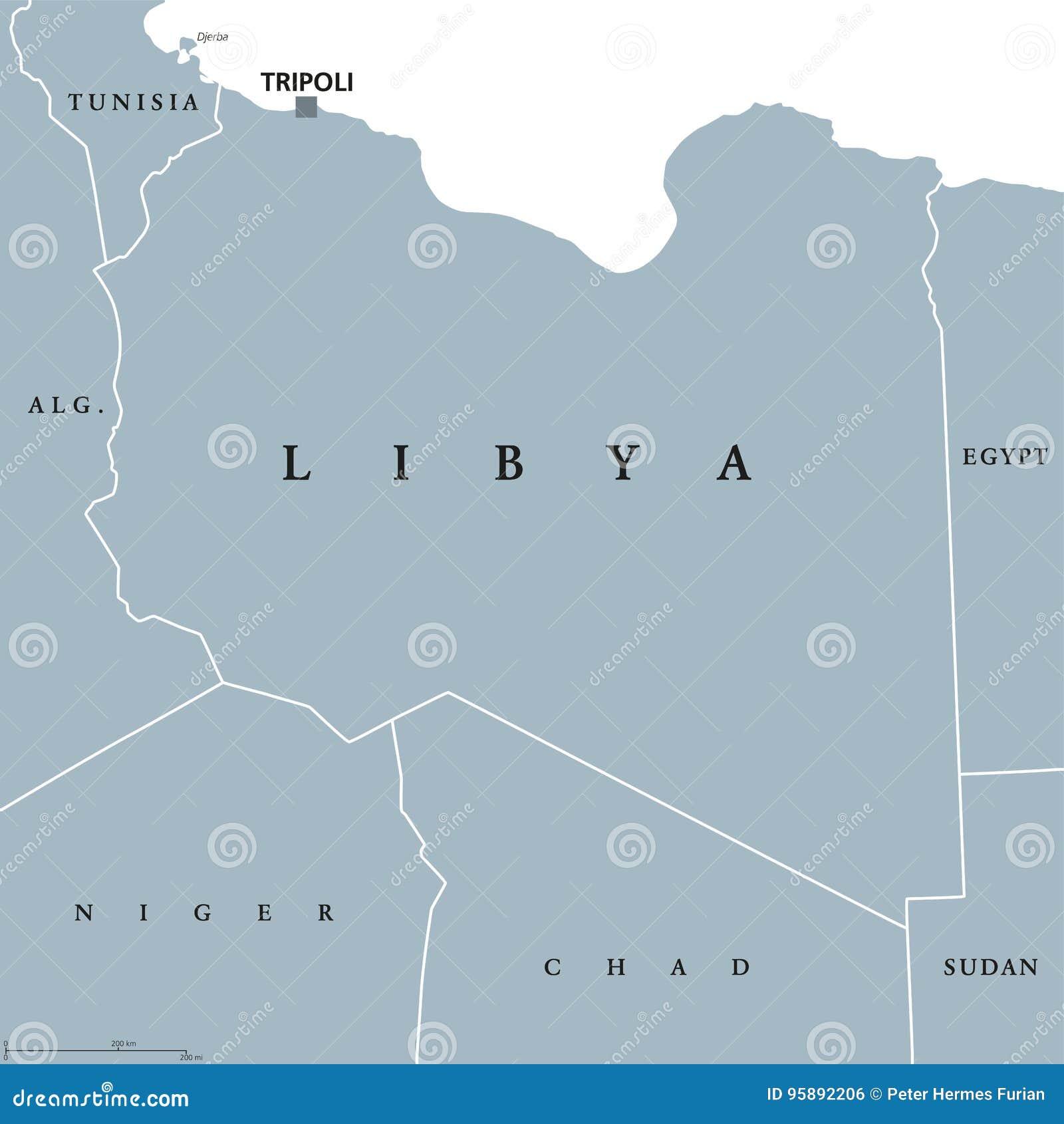 Libia Polityczna Mapa Ilustracja Wektor Ilustracja Zlozonej Z Tlo