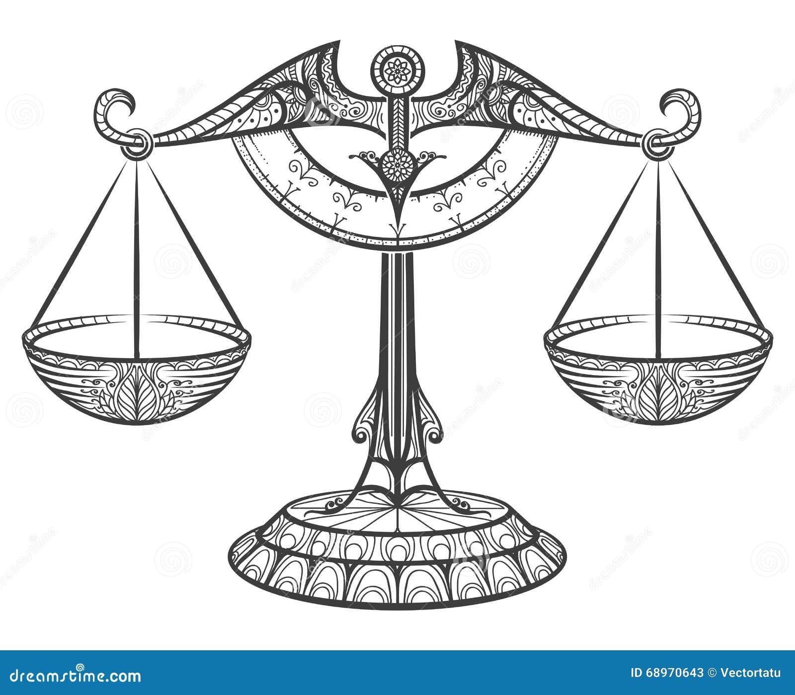Libra del zodiaco dibujado en estilo del zentangle