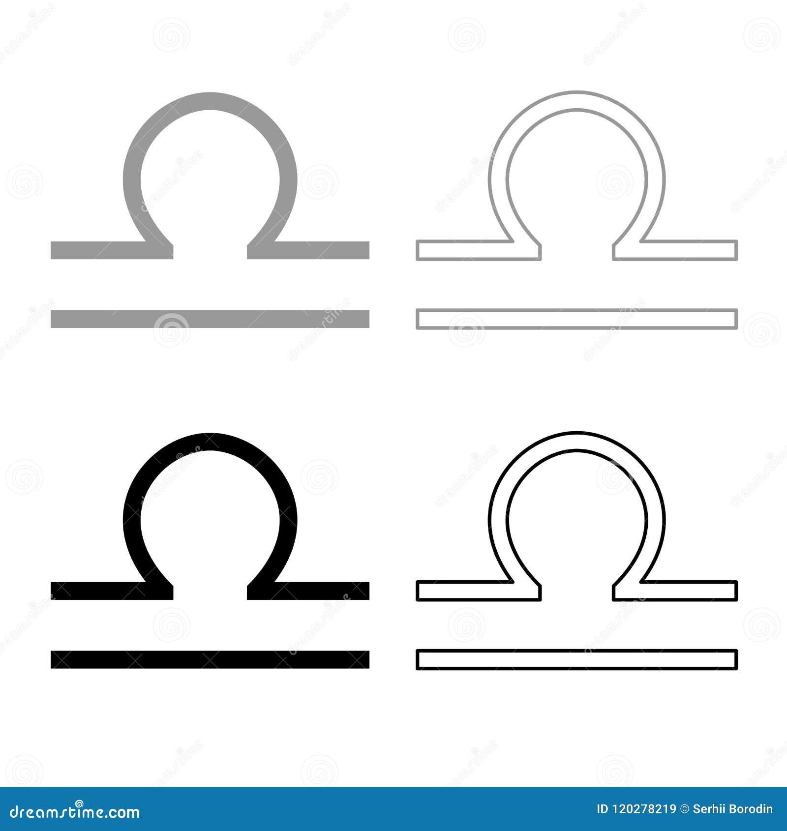 Libra Symbol Zodiac Icon Outline Set Grey Black Color Stock Vector