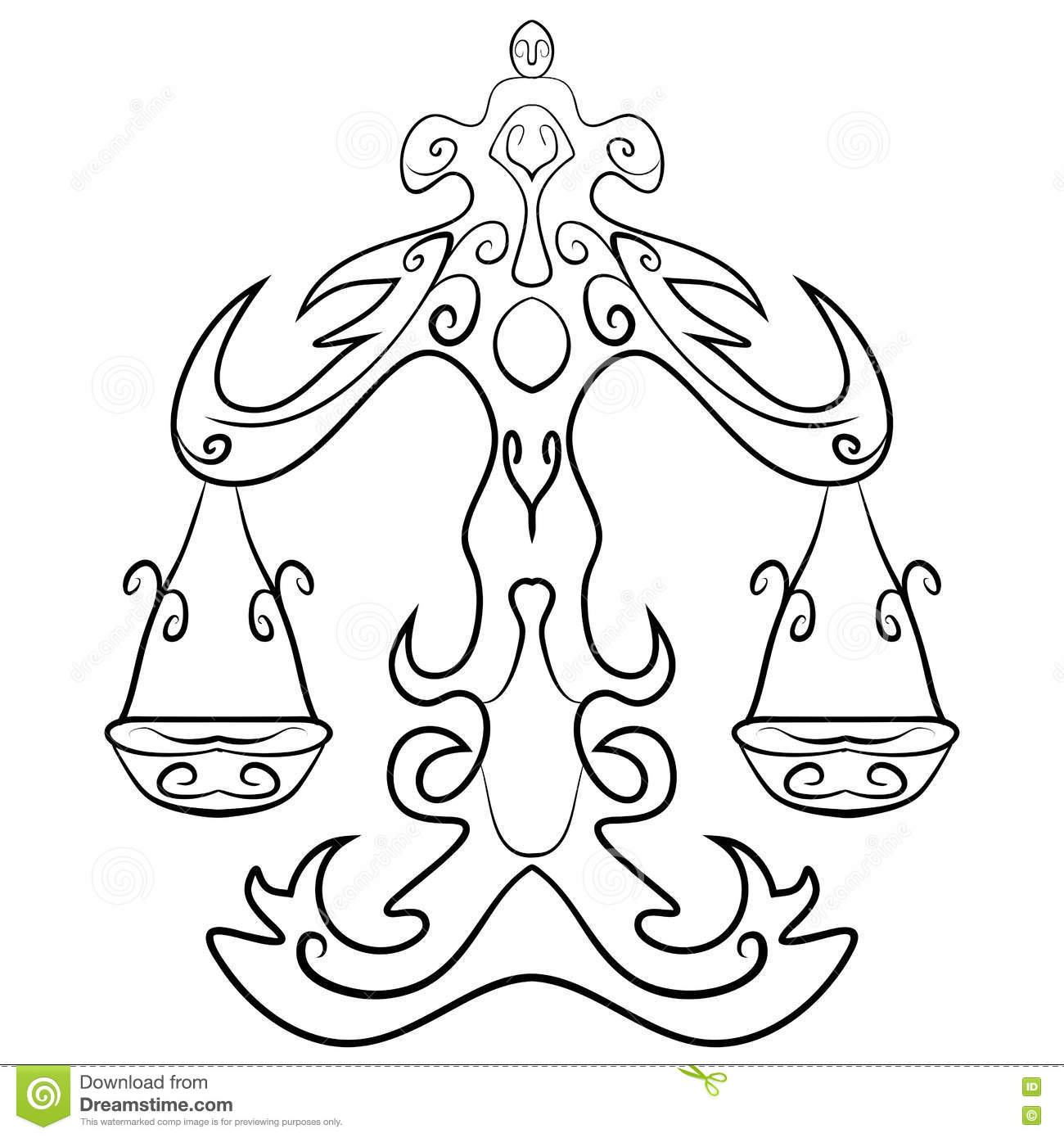 Zodiac Line Drawing : Libra tattoo ink sketch stock vector image of astrology