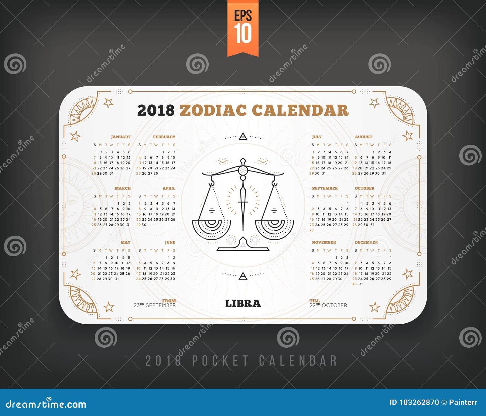 Libra 2018 Year Zodiac Calendar Pocket Size Horizontal
