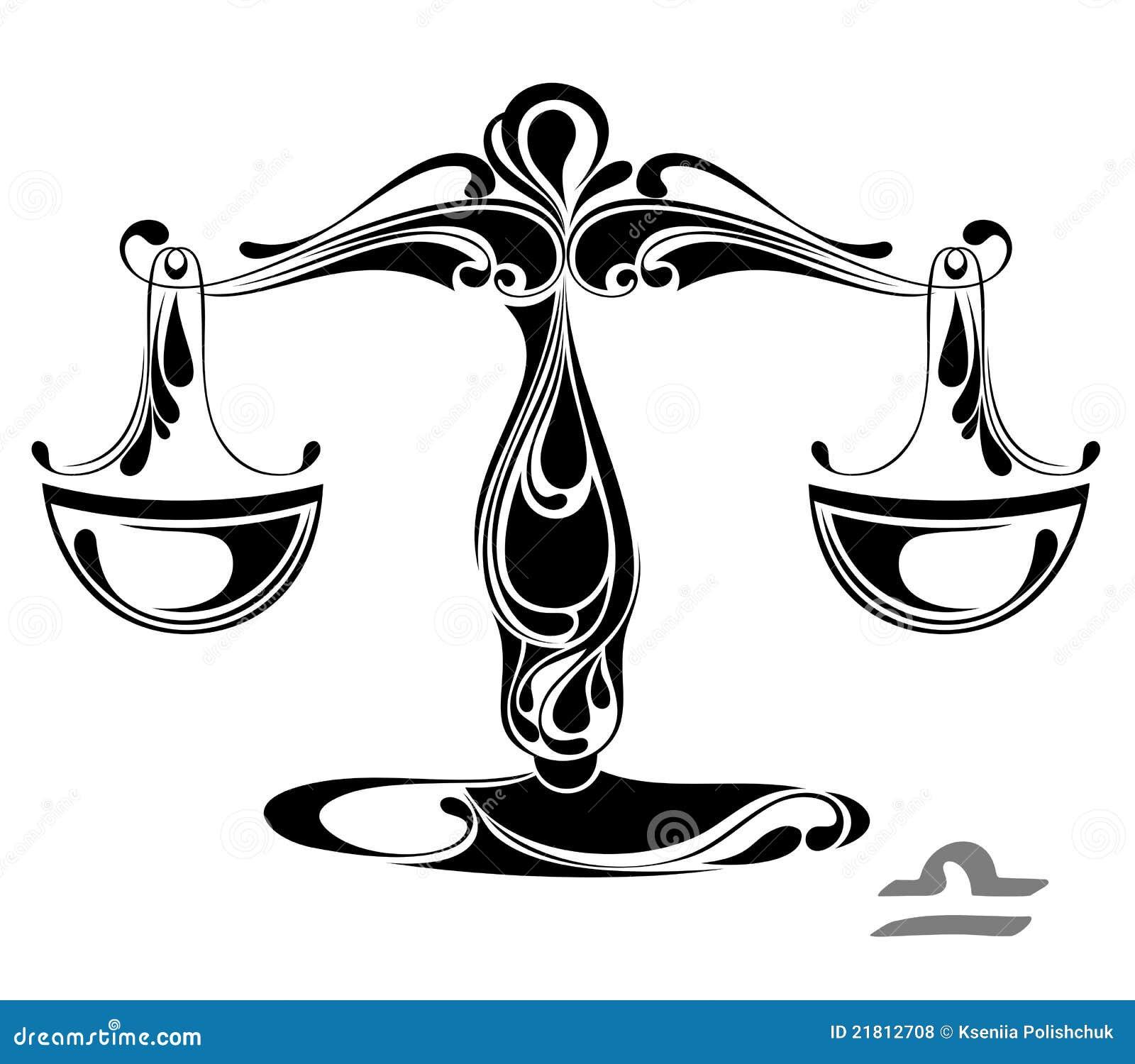 Libra Zodiac Vector Sign Tattoo Design Stock Vector Illustration