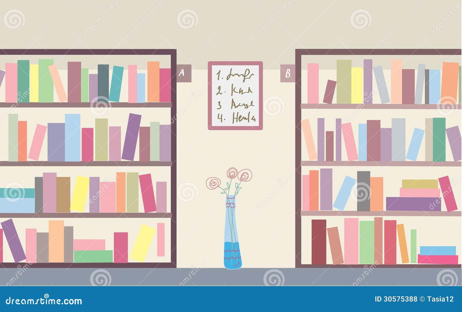 Empty library bookshelves.