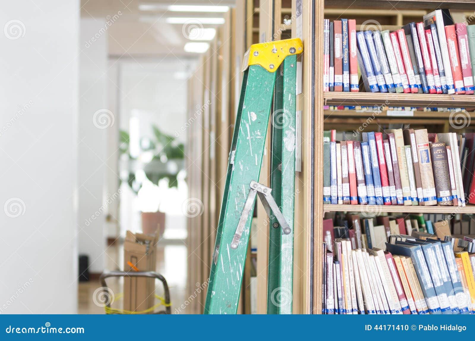 Ladder against a bookshelf in publc school college library. 1300 x 951