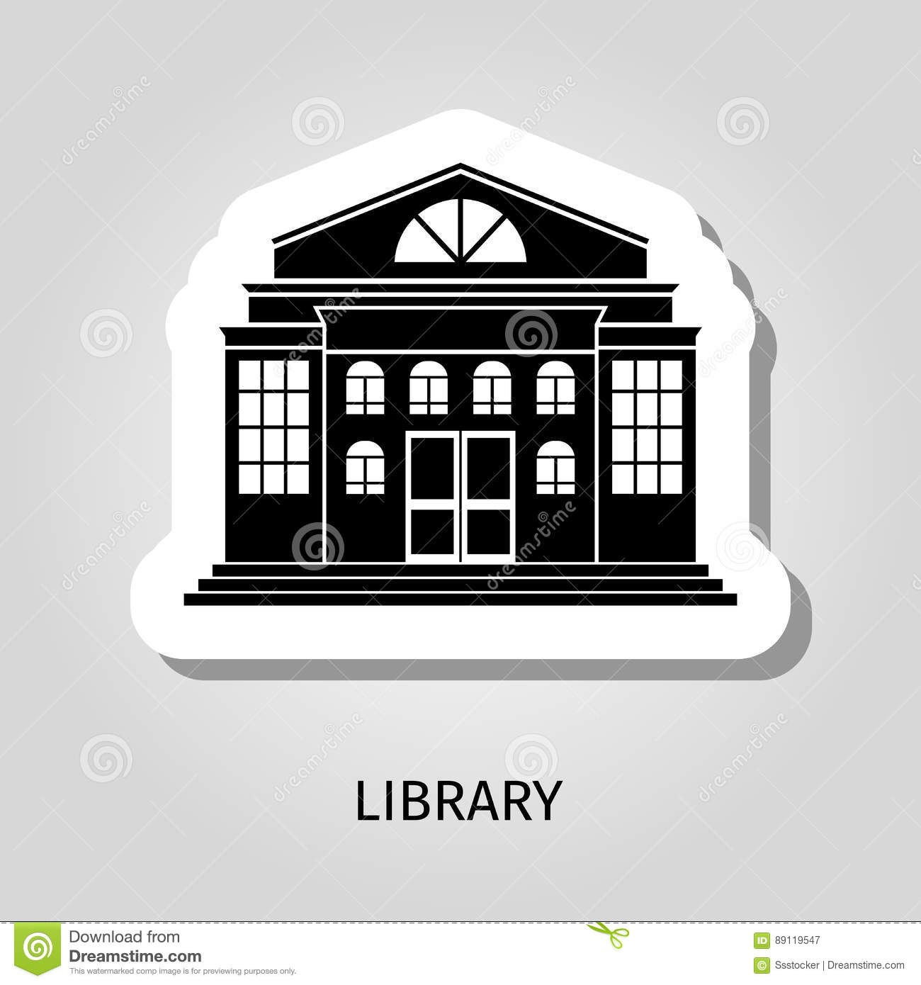 Library Building Black Sticker Stock Vector - Illustration of