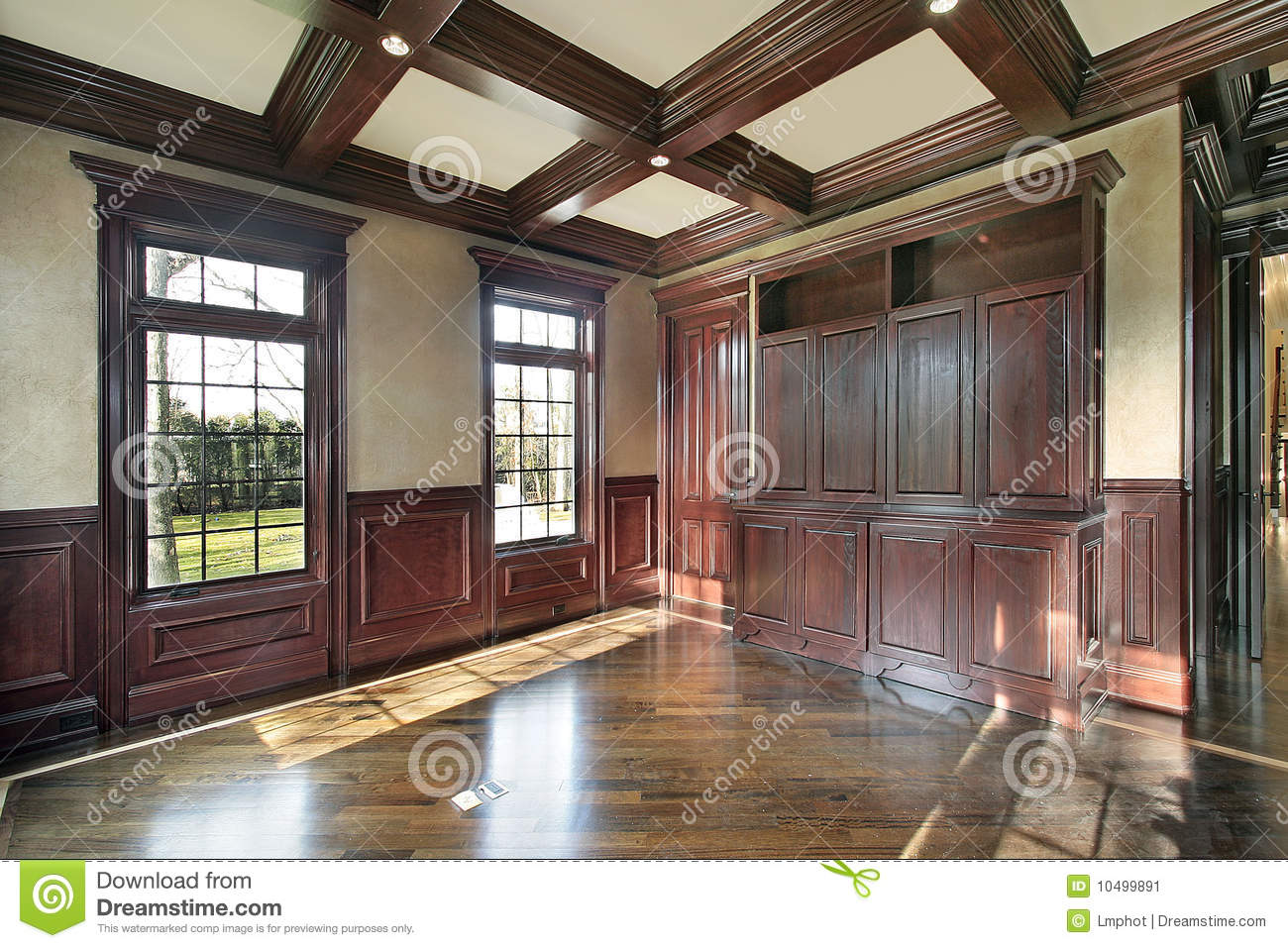 Library With Cherry Wood Paneled Walls Stock Image Image