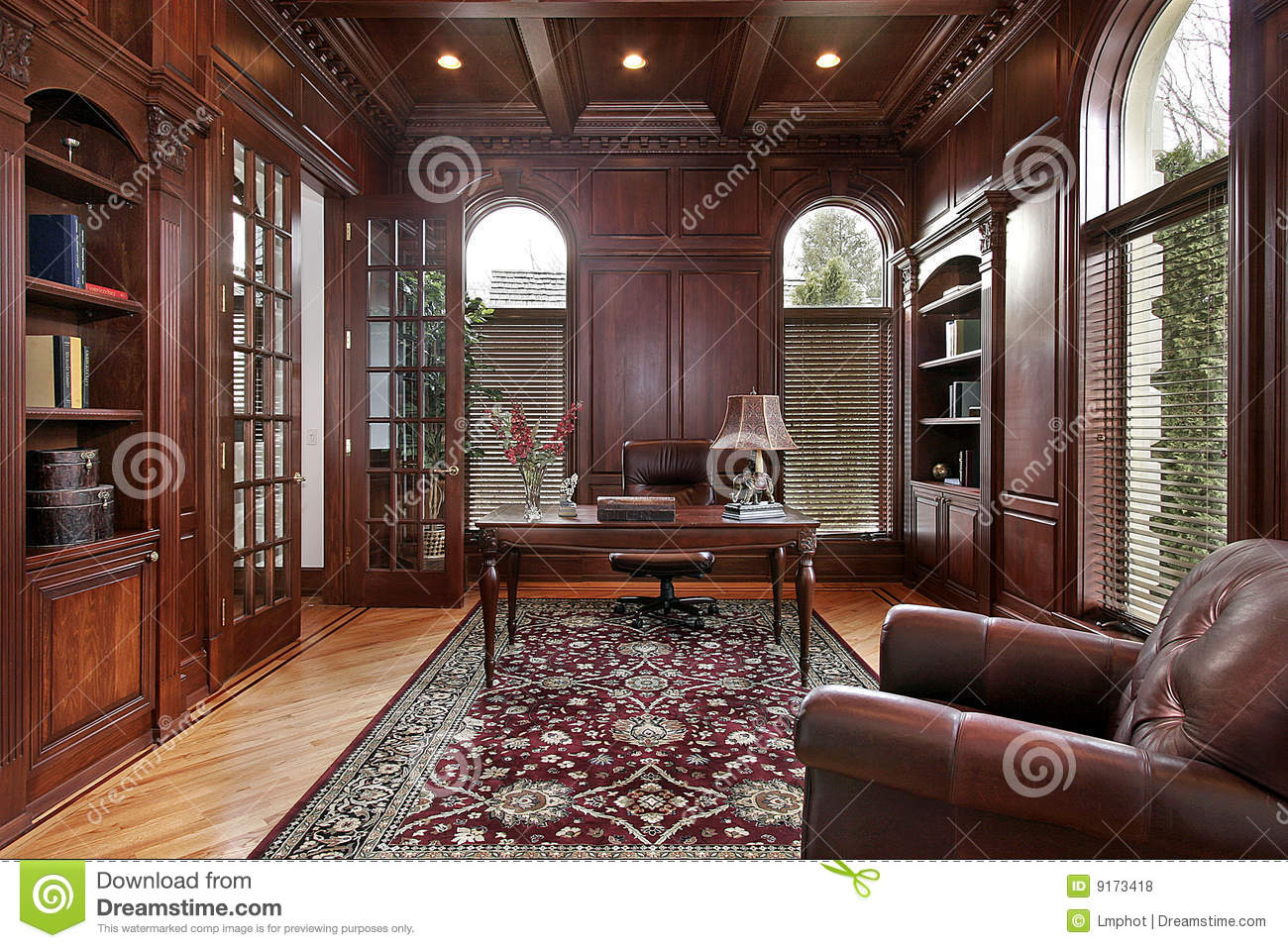 Library With Cherry Wood Paneling Stock Photo Image Of