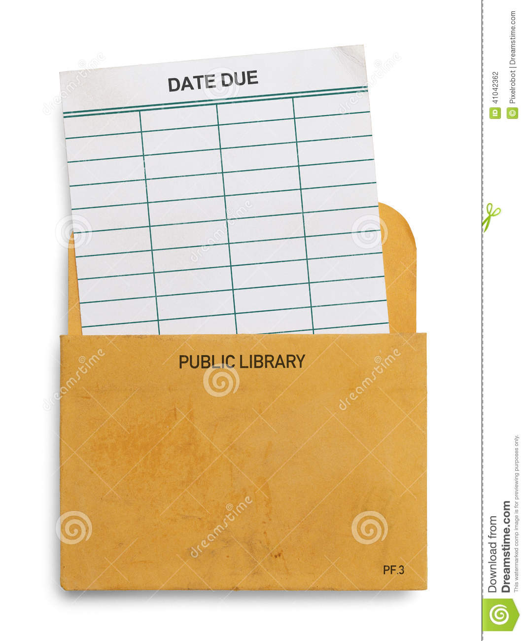 File Check Out Card library due card stock photo. image of fashioned, file