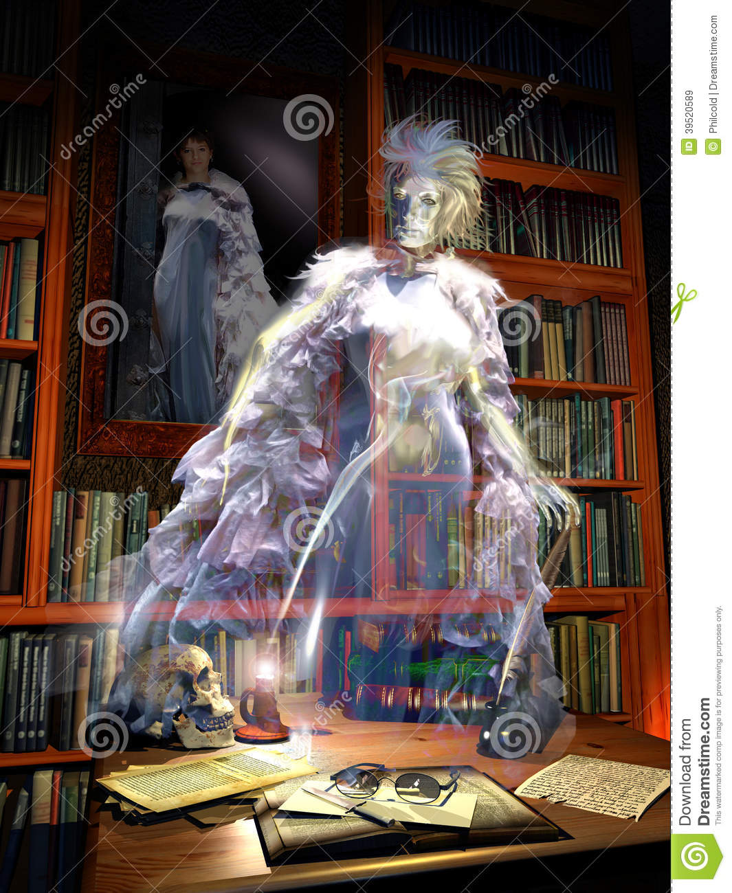 Library Ghost Stock Illustration - Image: 39520589