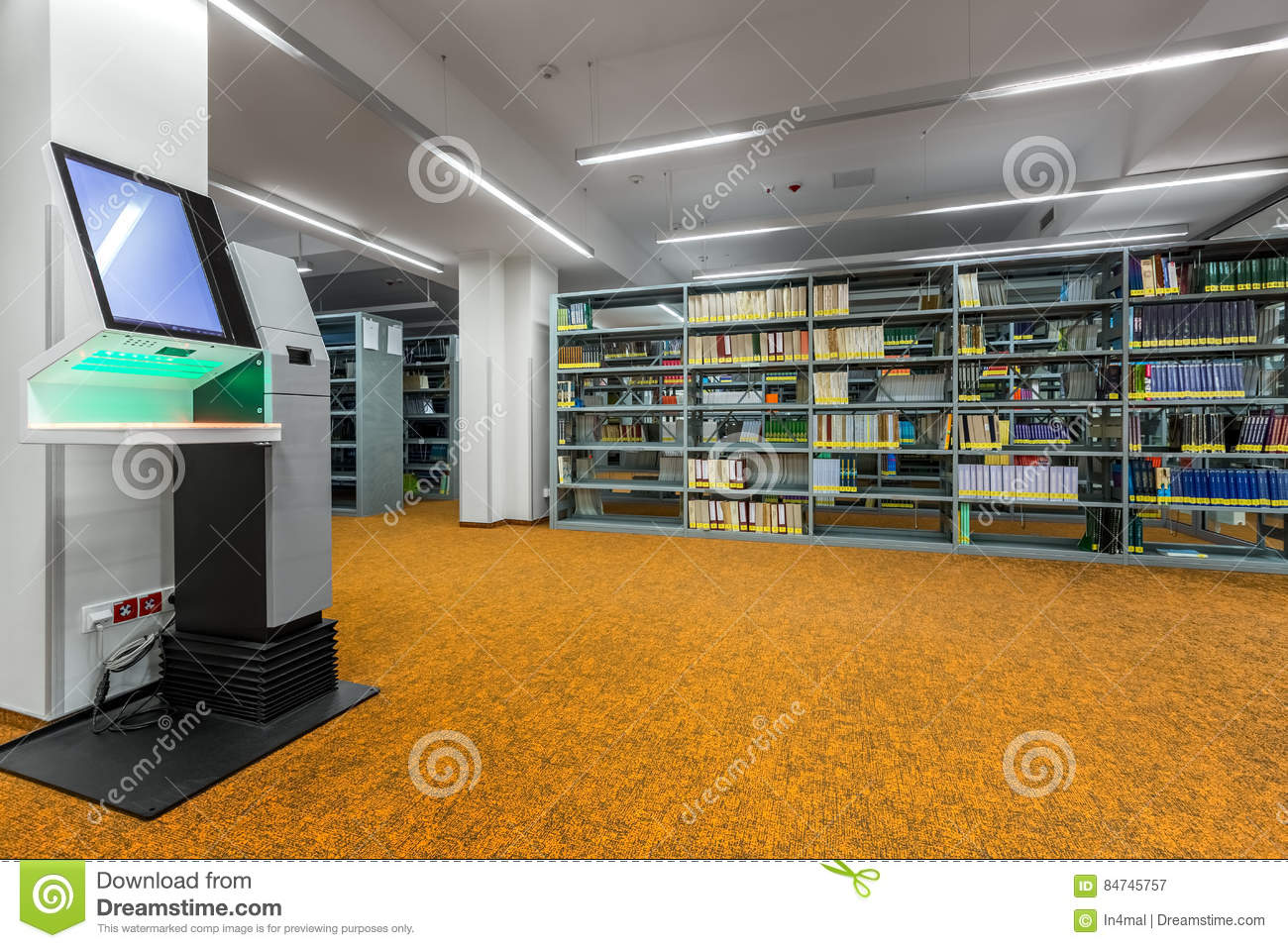 Library Interior With Modern Technology Stock Image - Image ...