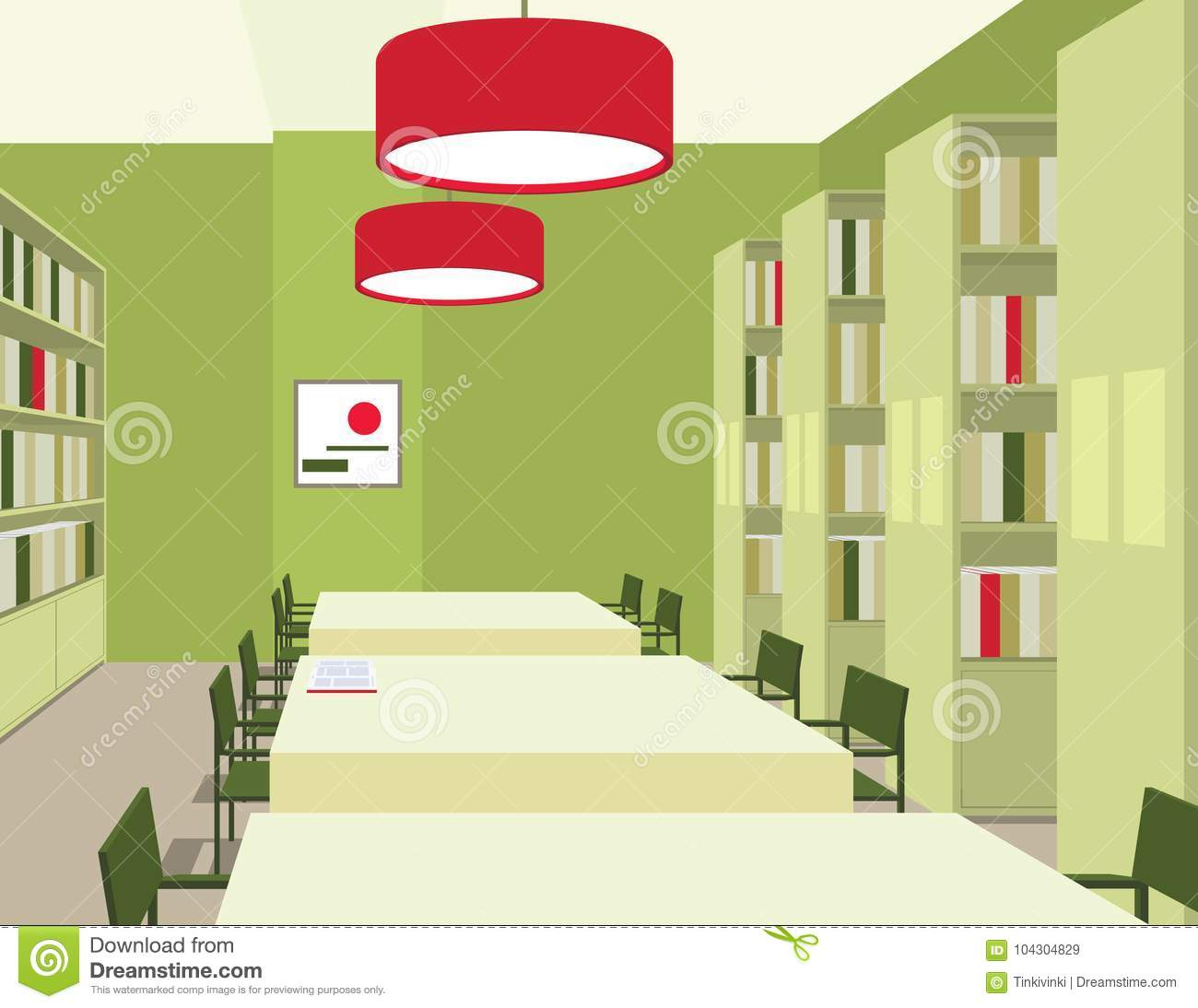 Library Interior With Tables Chairs Bookcases Lights Perspective View Empty Space