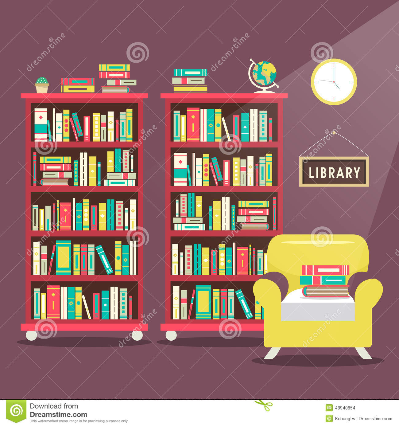 Library Scene Illustration In Flat Design Stock Vector