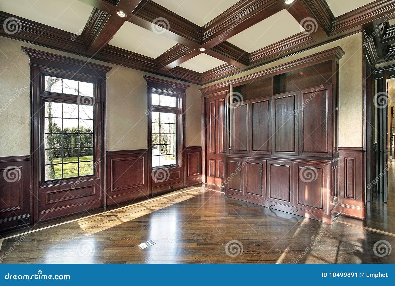 Pareti Ricoperte Di Legno : Libreria con le pareti rivestite legno della ciliegia immagine
