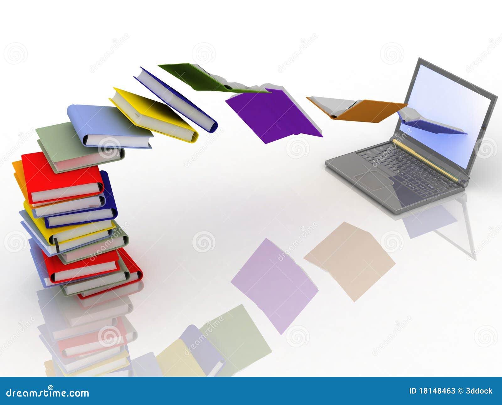 Libri e computer portatile illustrazione di stock for Libri internet