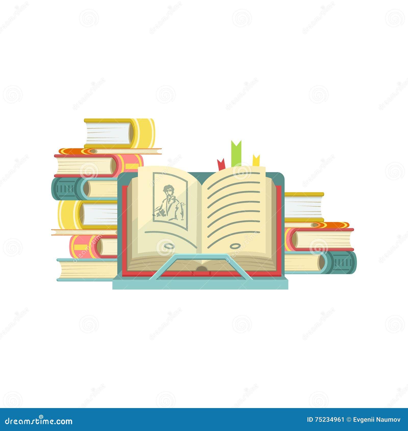 Libro Aperto Con I Mucchi Dei Libri Sui Precedenti Illustrazione