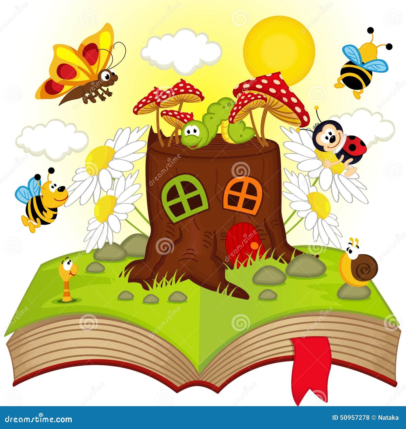 Libro aperto con il ceppo e gli insetti della casa for Disegni della casa della cabina di ceppo