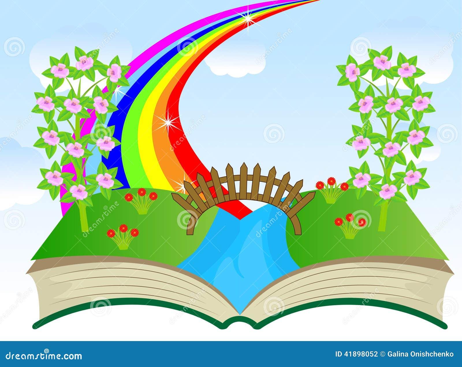 Children Book Cover Vector ~ Libro aperto con il paesaggio di estate illustrazione