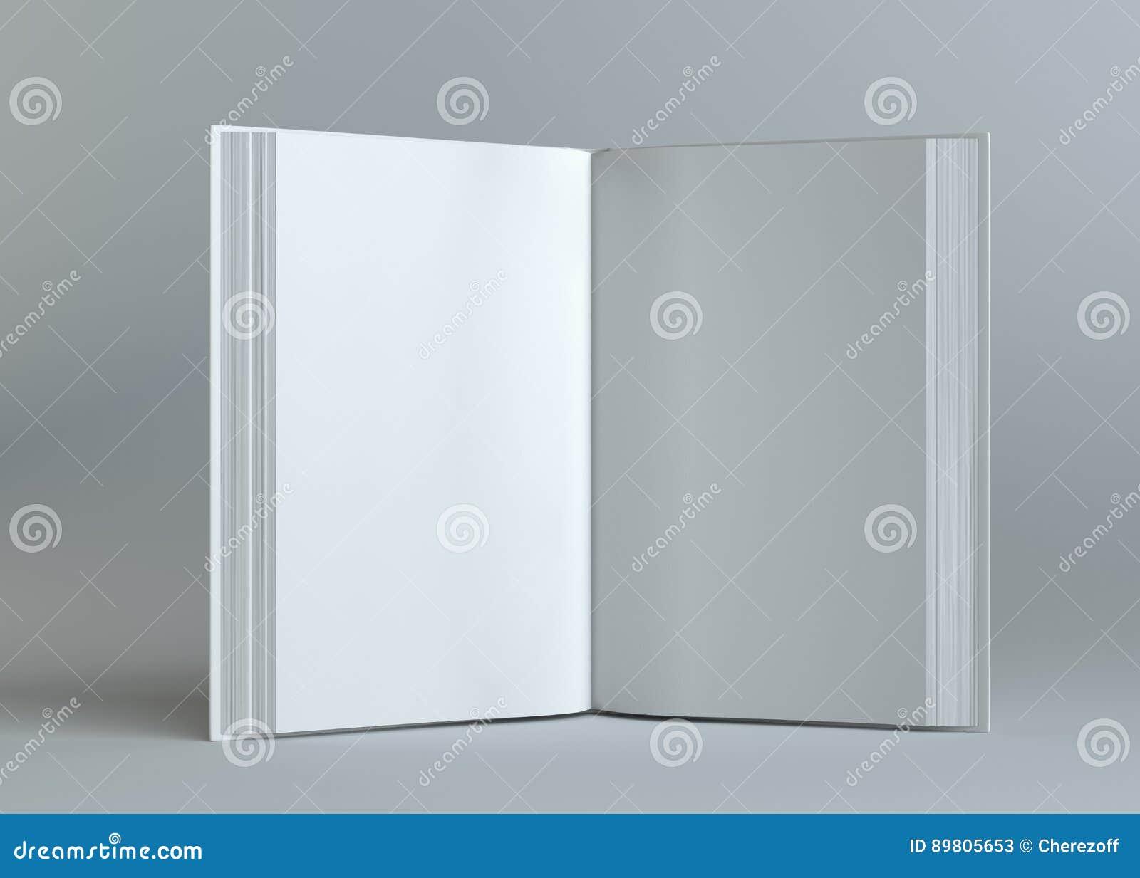 Libro aperto vuoto bianco su fondo grigio